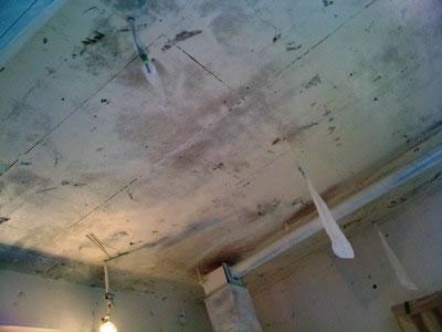 つづけて塗装工事に入ります 天井は断熱材であるスタイロフォームに1回目の吹き付けですが 予想通りまったく色が付いてくれません 素材の吸い込みが激しく 色が表面を覆ってくれません・・・